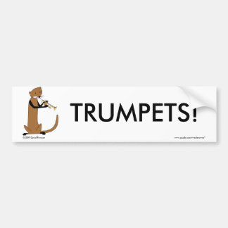 Loutre jouant la trompette autocollant de voiture