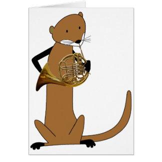 Loutre jouant le cor de harmonie carte de vœux