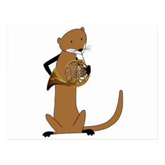 Loutre jouant le cor de harmonie carte postale