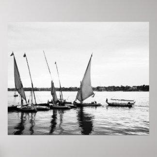 Louxor Egypte, Feluccas sur le Nil 2 Posters