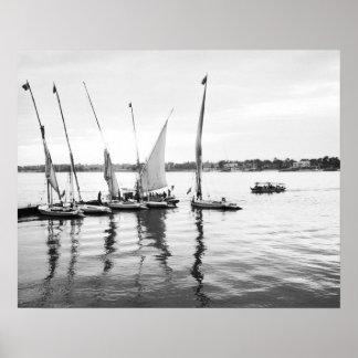 Louxor Egypte, Feluccas sur le Nil Affiches