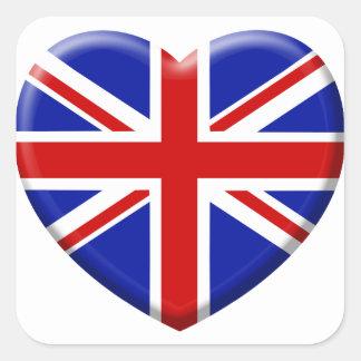 love drapeau Angleterre Sticker Carré