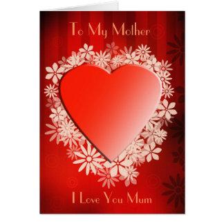 Loveheart, à ma mère, je t'aime maman carte de vœux
