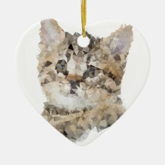 Low poly chaton ornement cœur en céramique