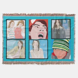 Lt Blue Custom Throw Blanket d'Instagram 6-Photo Couvre Pied De Lit