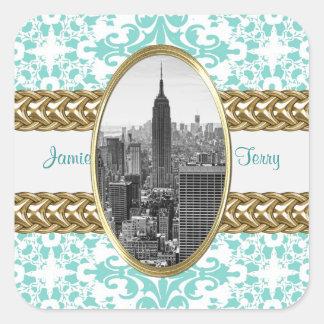 Lt Blue Damask Gold Chain de l'Empire State Stickers Carrés