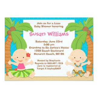 Luau jumelle l'invitation de baby shower carton d'invitation  12,7 cm x 17,78 cm