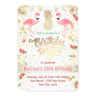 luau tropical d'anniversaire de flamant carton d'invitation 8,89 cm x 12,70 cm