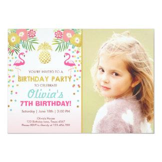 Luau tropical d'anniversaire d'invitation de carton d'invitation  12,7 cm x 17,78 cm