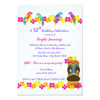 Luau tropical carton d'invitation  12,7 cm x 17,78 cm