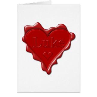 Luc. Joint rouge de cire de coeur avec Luc nommé Carte De Vœux