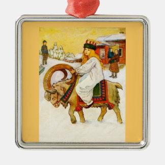Lucia montant une chèvre de Noël Ornement Carré Argenté