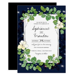Lucioles et magnolias dans le jardin carton d'invitation  12,7 cm x 17,78 cm