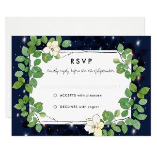 Lucioles et magnolias dans le jardin épousant RSVP Carton D'invitation 8,89 Cm X 12,70 Cm