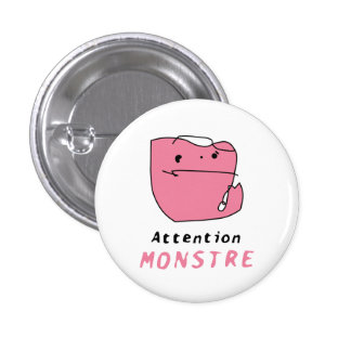 Luc's Monstre bouton rose Badge