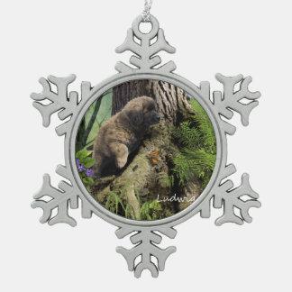 Ludwig l'ornement de Noël de chiot de Leonberger Ornement Flocon De Neige Pewter