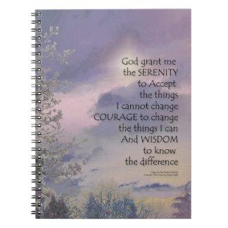 Lueur de ciel d'arbre de prière de sérénité carnet à spirale