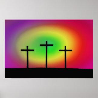 Lueur de trois croix poster