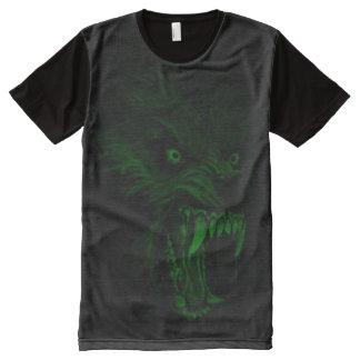 Lueur déplaisante dans l'art foncé d'horreur de t-shirt tout imprimé