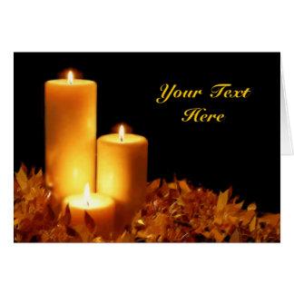 Lueur d'une bougie aux pastels mous personnalisabl carte de vœux