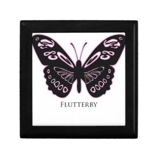 Lueur rose noire de Flutterby Petite Boîte À Bijoux Carrée