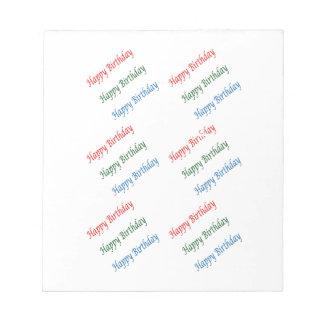 Lumière colorée de manuscrit de HappyBirthday de Bloc-notes