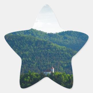 Lumière d'après-midi au-dessus d'église sticker étoile