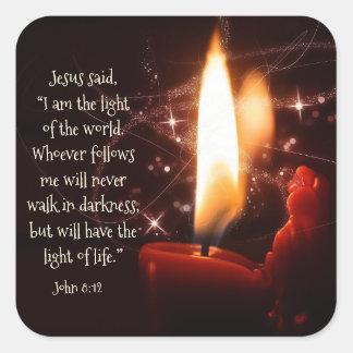 Lumière de Jésus du psaume 8, bible, Noël du monde Sticker Carré