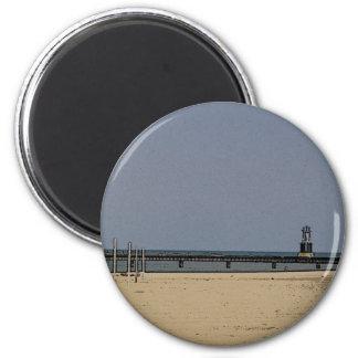 Lumière de plage de Chicago Magnet Rond 8 Cm