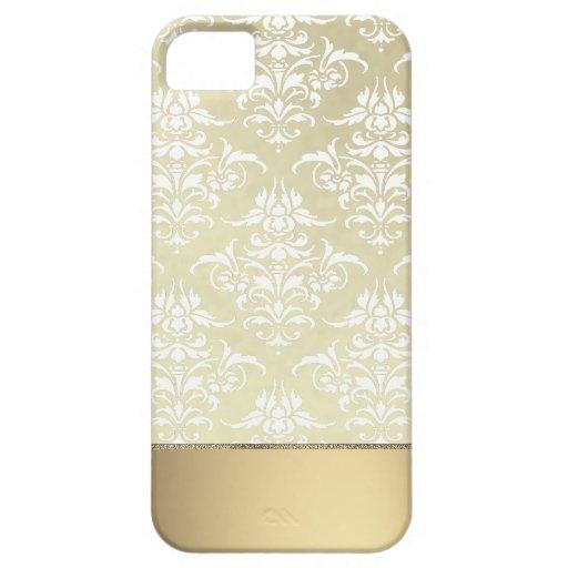 Lumière élégante Or-comme le motif vintage de dama Coque iPhone 5