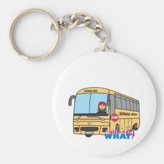 Lumière/rouge de chauffeur d'autobus scolaire porte-clé rond
