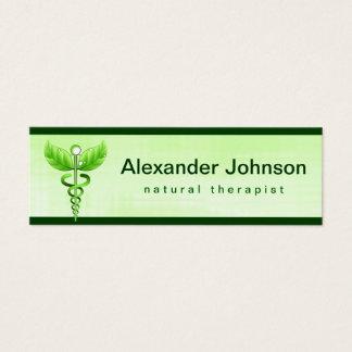 Lumière verte de médecine douce de caducée maigre mini carte de visite