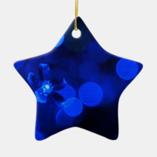 Lumières bleues de vacances ornement étoile en céramique