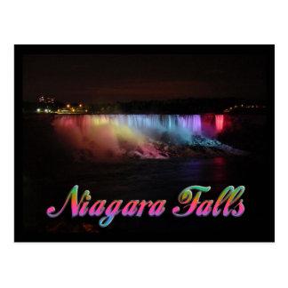 Lumières de chutes du Niagara la nuit Cartes Postales