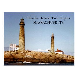 Lumières de jumeau d'île de Thacher, carte postale