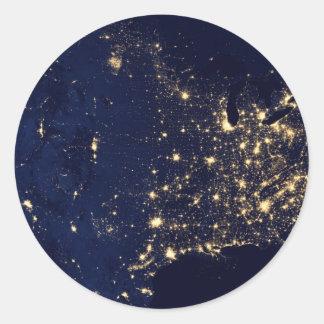 Lumières de la NASA de l'espace Etats-Unis Sticker Rond