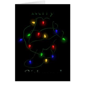 Lumières de Noël de teckel Carte De Vœux
