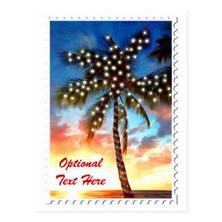 Lumières de palmier de vacances au coucher du carte postale