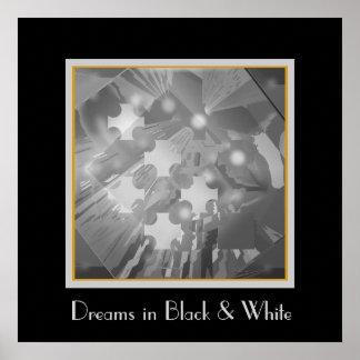 Lumières de partie en noir et blanc posters