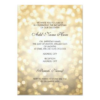 Lumières de scintillement d'or de bat mitzvah carton d'invitation  11,43 cm x 15,87 cm