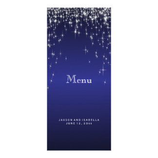 Lumières d'étoile dans bleu-foncé - menu modèle de carte double