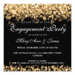 Lumières d'or de partie de fiançailles de mariage invitation