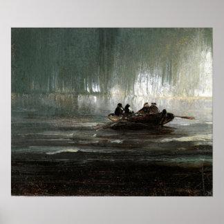 Lumières du nord de Peder Balke plus de bateau à Poster