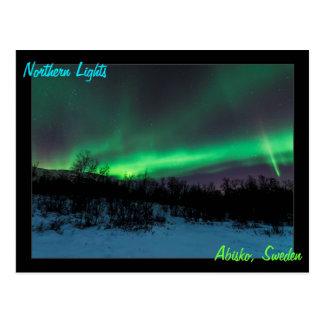 Lumières du nord en carte postale de la Suède