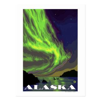 Lumières du nord et voyage vintage d'orques cartes postales
