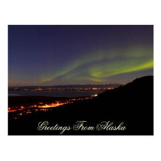 Lumières du nord saluant de la carte postale de
