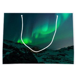 Lumières du nord vertes grand sac cadeau