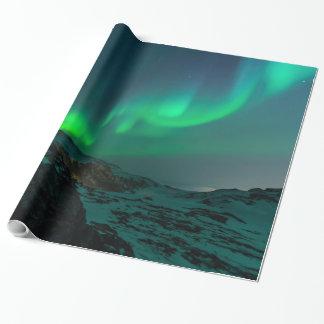 Lumières du nord vertes papiers cadeaux noël