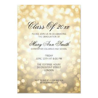 Lumières élégantes de scintillement d'or de fête carton d'invitation  12,7 cm x 17,78 cm