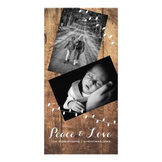 Lumières en bois de photo de Noël de paix et Modèle Pour Photocarte